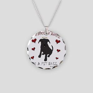 PitBullBlk Necklace Circle Charm