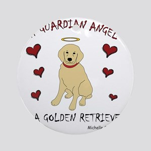 3-GoldenRetriever Round Ornament