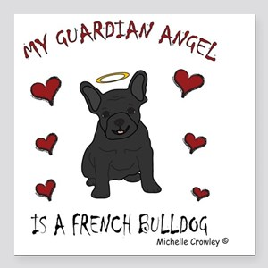 "FrenchBulldogBlk Square Car Magnet 3"" x 3"""