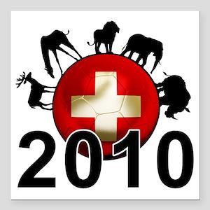 "Switzerland Football2 Square Car Magnet 3"" x 3"""