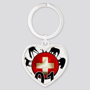 Switzerland Football2 Heart Keychain