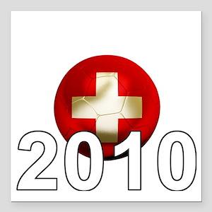 "Switzerland Football2Bk Square Car Magnet 3"" x 3"""