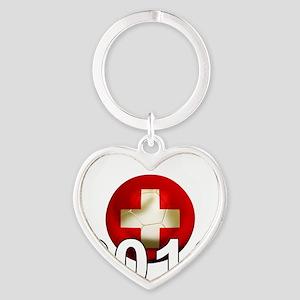 Switzerland Football2Bk Heart Keychain
