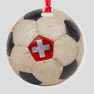 Switzerland Football4 Round Ornament
