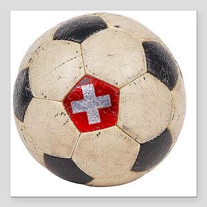 "Switzerland Football4 Square Car Magnet 3"" x 3"""