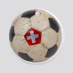 Switzerland Football4 Round Ornament