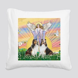 2-MP-Blessings - Two Shelties Square Canvas Pillow