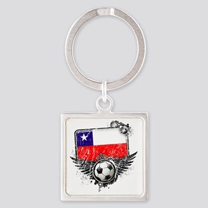 Soccer fan Chile Square Keychain