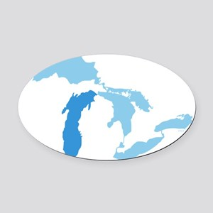 Great_Lakes_With_Lake_Michigan_15. Oval Car Magnet