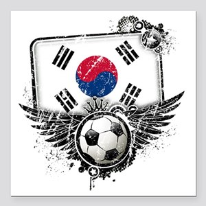 "Soccer fan South Korea Square Car Magnet 3"" x 3"""