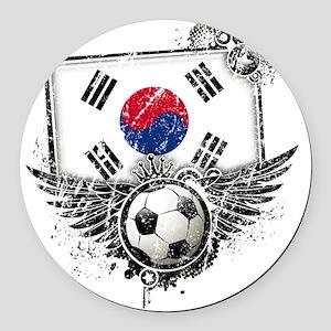 Soccer fan South Korea Round Car Magnet