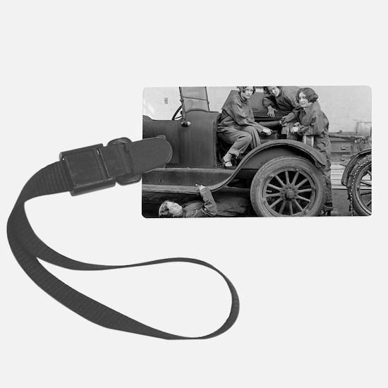 Young Lady Auto Mechanics Luggage Tag