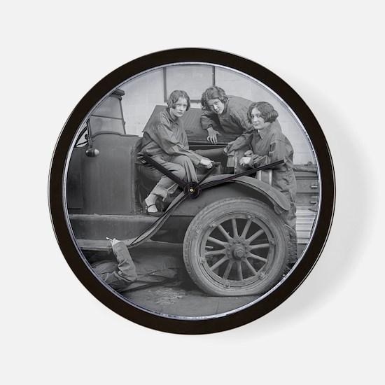 Young Lady Auto Mechanics Wall Clock