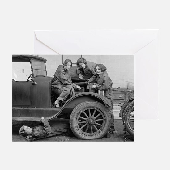 Young Lady Auto Mechanics Greeting Card