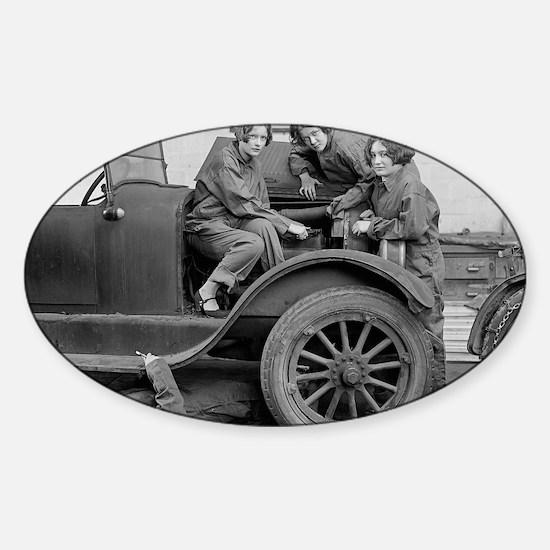 Young Lady Auto Mechanics Sticker (Oval)