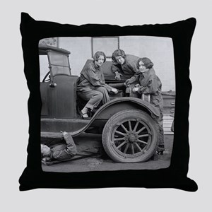 Young Lady Auto Mechanics Throw Pillow