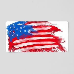 US Flag White Background Aluminum License Plate