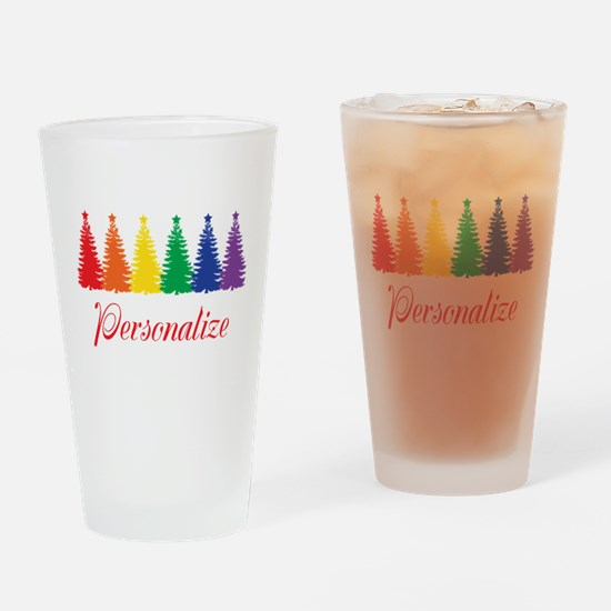 Rainbow XMas Trees Drinking Glass