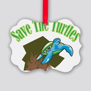 SAVE THE TURTLES Picture Ornament