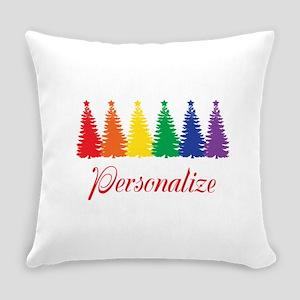 Rainbow XMas Trees Everyday Pillow