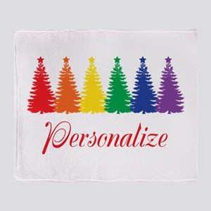 Rainbow XMas Trees Throw Blanket
