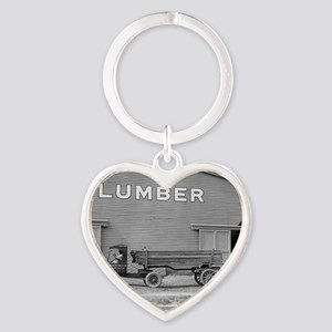 Early Ford Tractor Trailer Heart Keychain