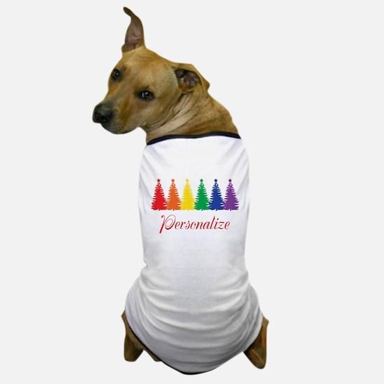 Rainbow XMas Trees Dog T-Shirt