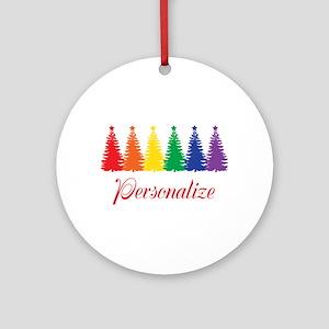 Rainbow Xmas Trees Round Ornament