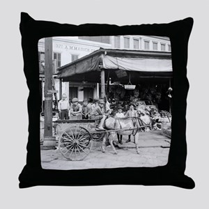 New Orleans French Market Throw Pillow