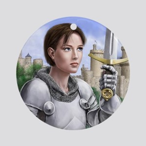 joan of arc gazing up Round Ornament