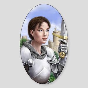 joan of arc gazing up Sticker (Oval)