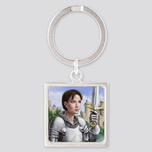 joan of arc gazing up Square Keychain