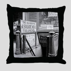 The Five Cent Restaurant Throw Pillow