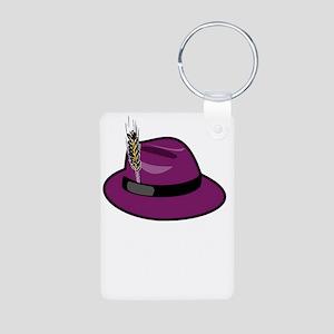 fedora-purple-large-black_ Aluminum Photo Keychain