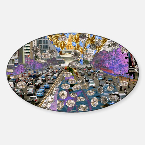 victor-angelo_city Sticker (Oval)