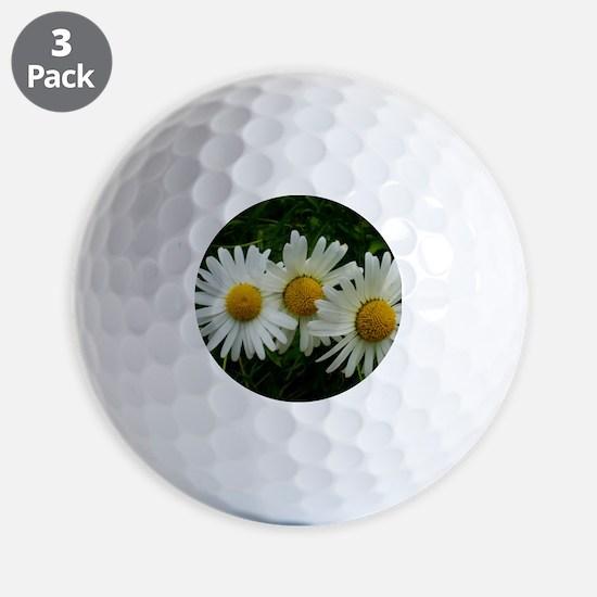 White Daisy Trio Golf Ball