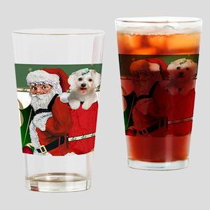 Santa Bag Full Of Maltese Drinking Glass