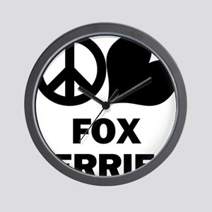FIN-peace-love-fox-terrier Wall Clock
