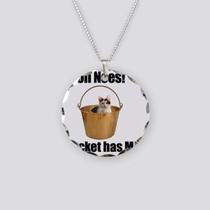 Bucket Cat Necklace Circle Charm