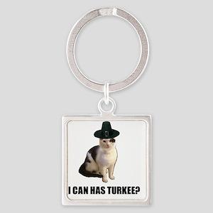 Thanksgiving Turkey Lolcat Square Keychain