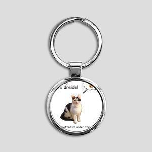 Hannukah Dreidel Cat Round Keychain