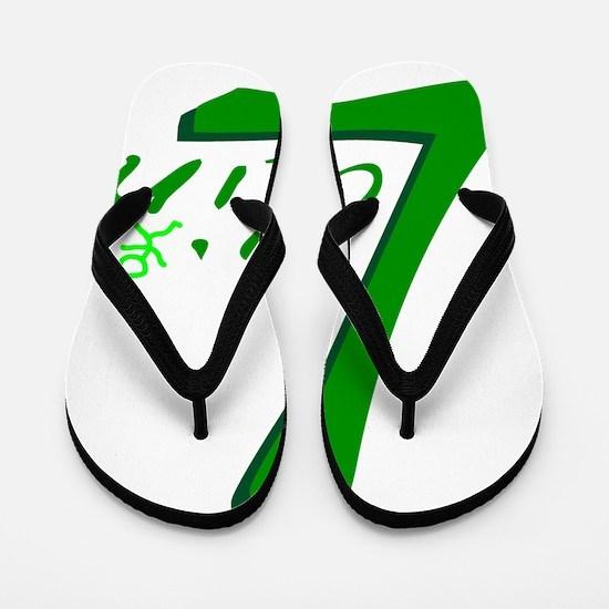 Latin Handwritten Green Flip Flops
