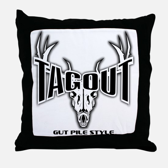 Tag Out No Bkd GPS White Throw Pillow