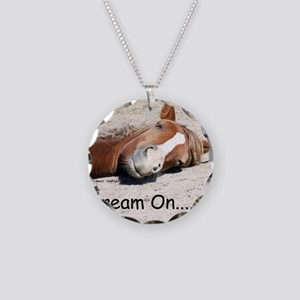 Dream On Sleeping Horse Necklace Circle Charm