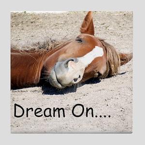 Dream On Sleeping Horse Tile Coaster