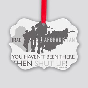 IraqAfghansitanShutUp200dpi Picture Ornament