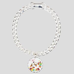 Roller Skate Girl Charm Bracelet, One Charm