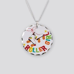 Roller Skate Girl Necklace Circle Charm