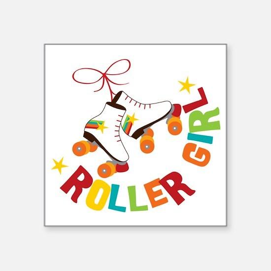 """Roller Skate Girl Square Sticker 3"""" x 3"""""""