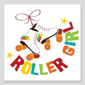 """Roller Skate Girl Square Car Magnet 3"""" x 3"""""""